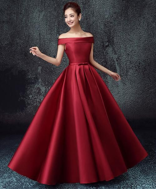 43dc51e13c4 Elegant A line satin off shoulder long prom dress