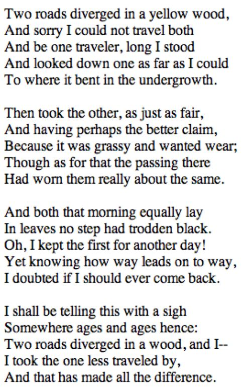 The Road Not Taken (1915) - Robert Frost. My favorite poem from one of my favorite poets! Aline ♥