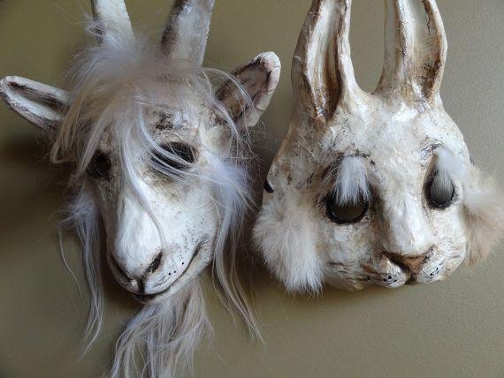 Halloween mask papier mache bunny mask rabbit by MiesmesaBerni