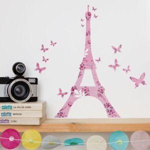 Sticker Tour Eiffel en vinyle enlevable et ses papillons.  Imprimé French liberty rose.  Création Sofia Antonovich.  1 sticker Tour Eiffel et 15 petits papillons sur une planche 20x30 cm.
