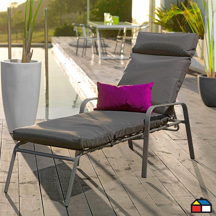 Reposera apilable de aluminio con cojín #terraza