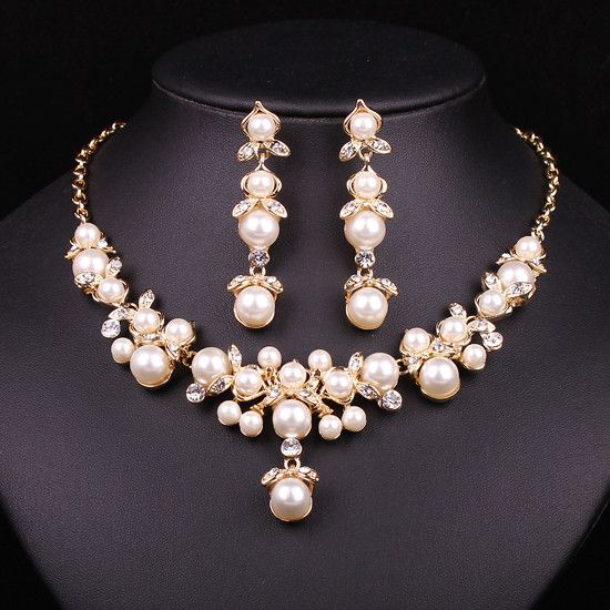 Trendy Indian Jewelry Set Wedding Bridal Accessories Gold Color Imitation Pearl …