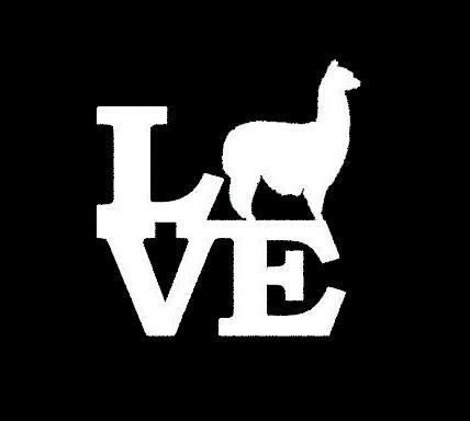 Show your alpaca love with this Alpaca Love vinyl window sticker!