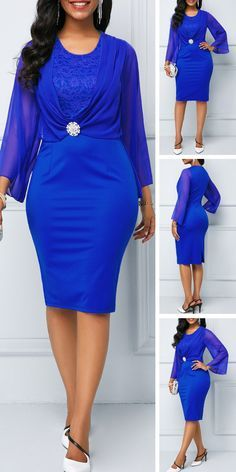 4f9641d8df1 Back Slit Lace Patchwork Royal Blue Sheath Dress Give your wardrobe casual  dress from Rotita.This royal blue sheath dress is paired with lace  patchwork ...