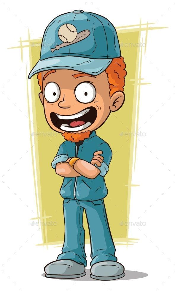 Cartoon Redhead Smiling Baseball Trainer