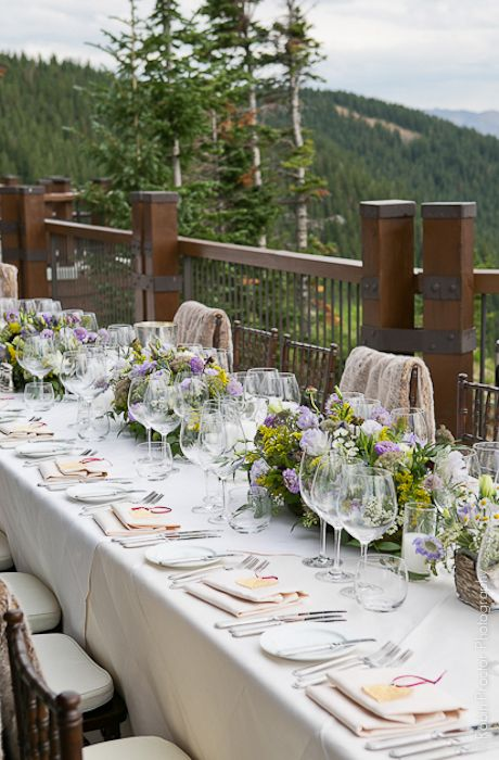 Mountain wedding dinner table setting. Overlap whites on top of beige to get a subtle earth tone feel, but elegant nonetheless.
