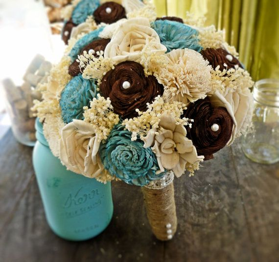 Natural Wedding Bouquet- Large Turquoise Brown Ivory Bridal Bridesmaid Bouquet, Rustic Wedding, Alternative Bouquet, Keepsake Bouquet: