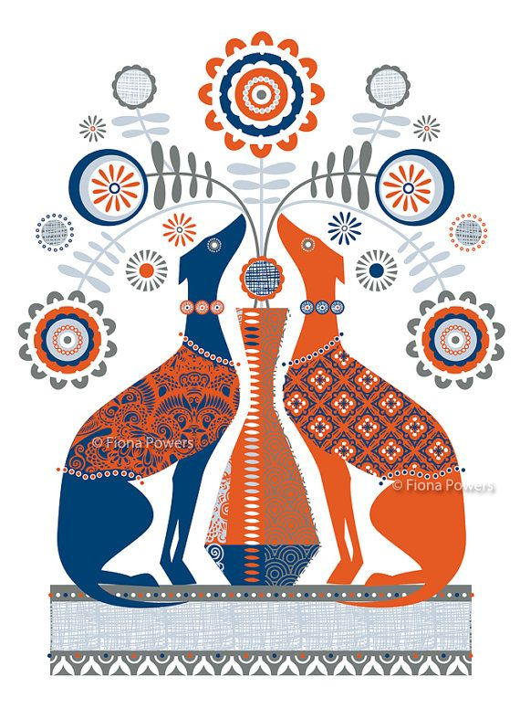 Red and Blue Whippet limited edition giclée print by FiinkDesign