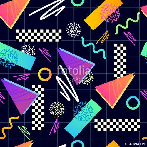 """Téléchargez le fichier vectoriel libre de droits """"Eighties Seamless Pattern Vector"""" créé par James Thew au meilleur prix sur Fotolia.com. Parcourez notre banque d'images en ligne et trouvez l'illustration parfaite pour vos projets marketing !"""