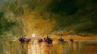 солнце, арт, рисунок, лодки, море, картина