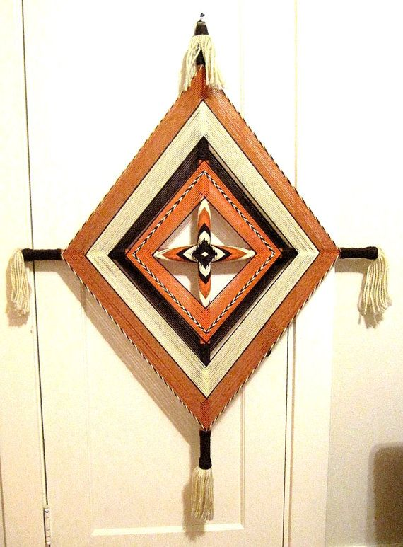 RESERVED for SB: Ojo de Dios Mandala Yarn Weaving Diamond Wall Decor - Very…