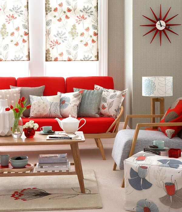floral patterns in a mid-century, retro style living room