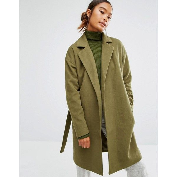 First & I Belted Coat (€48) ❤ liked on Polyvore featuring outerwear, coats, green, coat with belt, fur-lined coats, brown coat, belted coat and tall coats