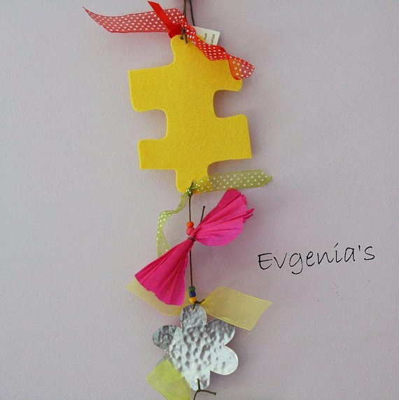 Handmade Yellow Puzzle  Metal and Blue Flower by EvgeniasOrnaments, $18.00