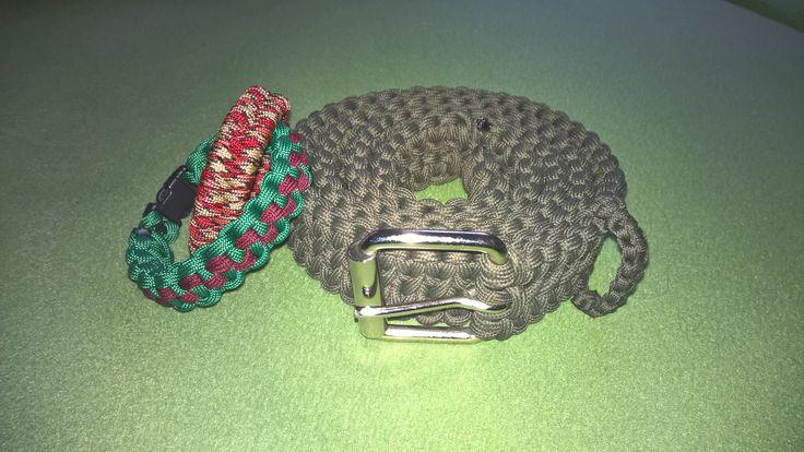 Checkerboard Paracord Bracelet, Fishtail Bracelet and Belt