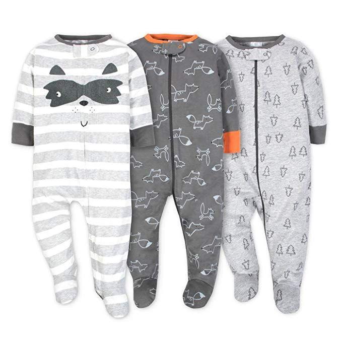 331140474 Amazon.com  Gerber Onesies Baby Boy Sleep N  Play Sleepers 3 Pack ...