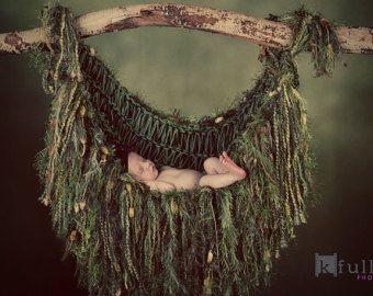 Suspension mousse forêt vert accessoires hamac. Bébé nouveau-né Sling frange couverture infantile Photo Prop nouveau-né porte-bébé «Verdoyant»