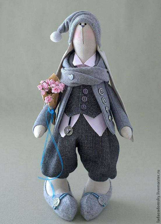 Купить Заяц Reni - 39 см - серый, серо-розовый, заяц текстильный, заяц тильда