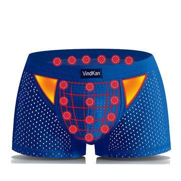 VindKan Mens Magnet Antibacterial Health Modal U Convex Pouch Mesh Breathable Boxers Underwear