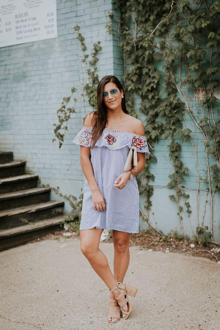 embroidered off the shoulder dress