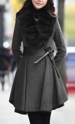 Love this Coat! Grey and Black Long Sleeve faux Fur Plunging Neck PU Vegan Leather Stitched Waistband with Plicated Ruffles