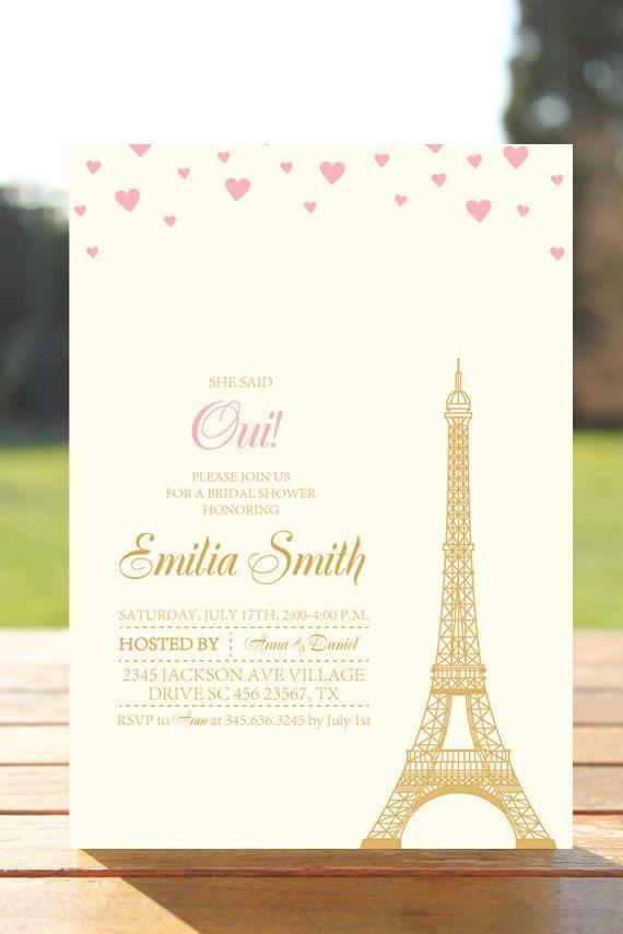 Eiffel Tower Paris Invitation Digital Bridal by TheCutePaperStudio