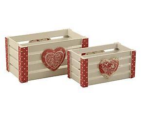Set di 2 cassette in legno Cuore rosso e bianco - max 30x15x17 cm
