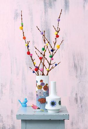 Zweige mit Pompoms