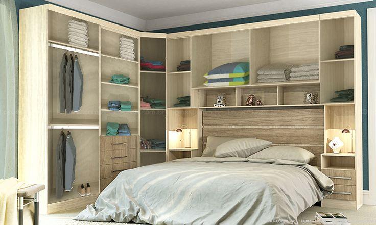 Quarto de Casal Modulado Completo com Cabeceira Glace Crema/Amêndoa - Casabras   Lojas KD