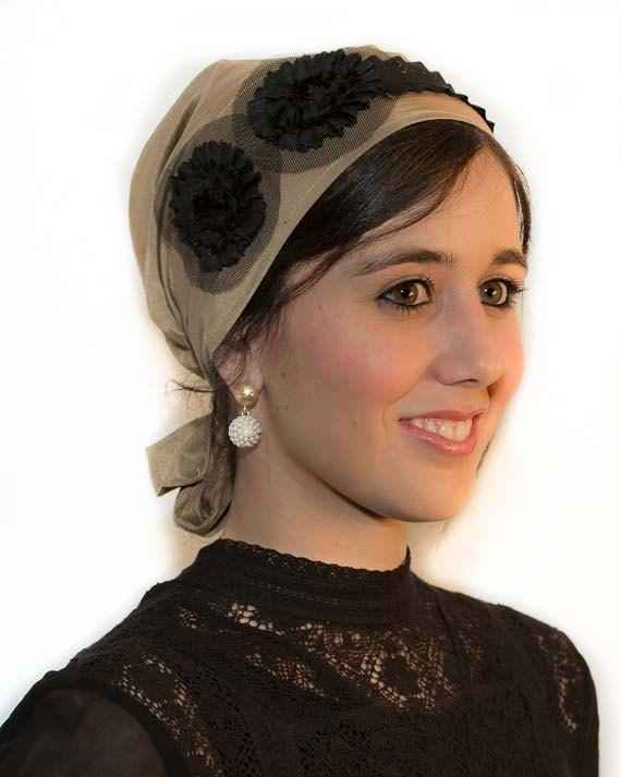 Camel Headscarf Black Flowers Bandana Chemo by TaharaAccessories, $34.95