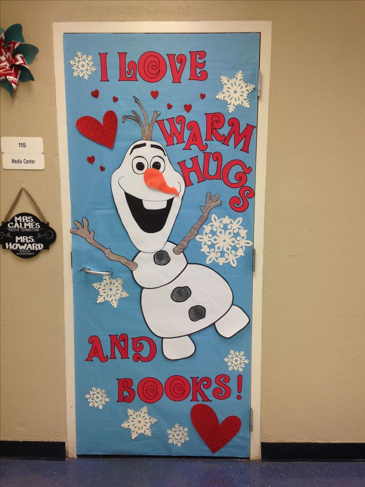 Olaf library door! Could be used on a bulletin board as well. Frozen, winter, and Valentine's Day