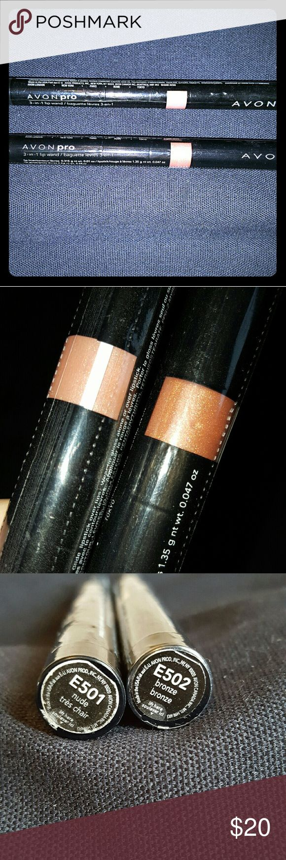 Avon Pro 3 in 1 Lip Wand Lipstick - Nude or Bronze Avon 3 in 1 Lip Wand - Nude or Bronze. $18 for both. If you only want 1 color I will separate for $10 each.   Rare and hard to find.   Brand new and Factory Sealed.  Full lip service. Perfect lip sync. Pre-coordinated shades for easy & beautiful lips! First define with lip liner. Then add luscious color with lipstick. Finish with glossy shine with lip gloss.  Lip Liner, .01 oz. net wt.  Lipstick, .047 oz. net wt.  Lip Gloss, .09 oz. net wt…