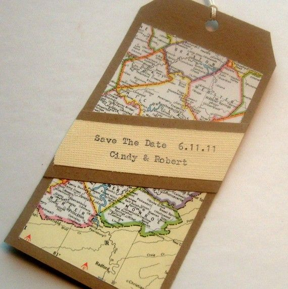 This is a save the date but could be an escort card as it keeps in theme with the travel invites
