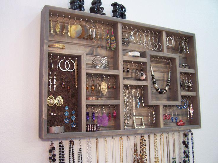 Jewelry Organizer Display Case Earring by barbwireandbarnwood