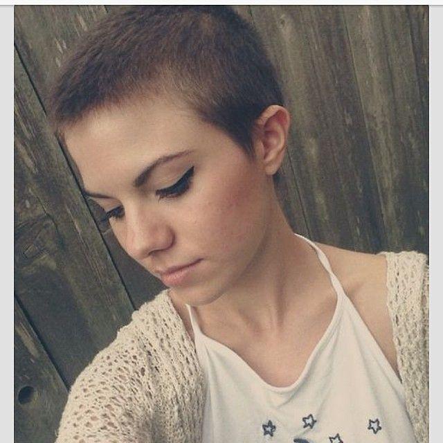 cut hair shaved woman