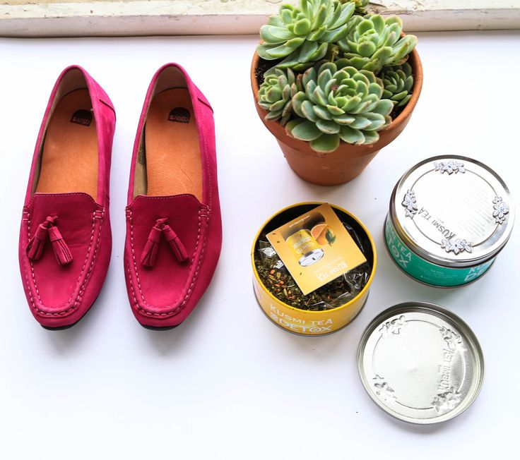 Afternoon tea with our magenta 'Puffin' loafer.