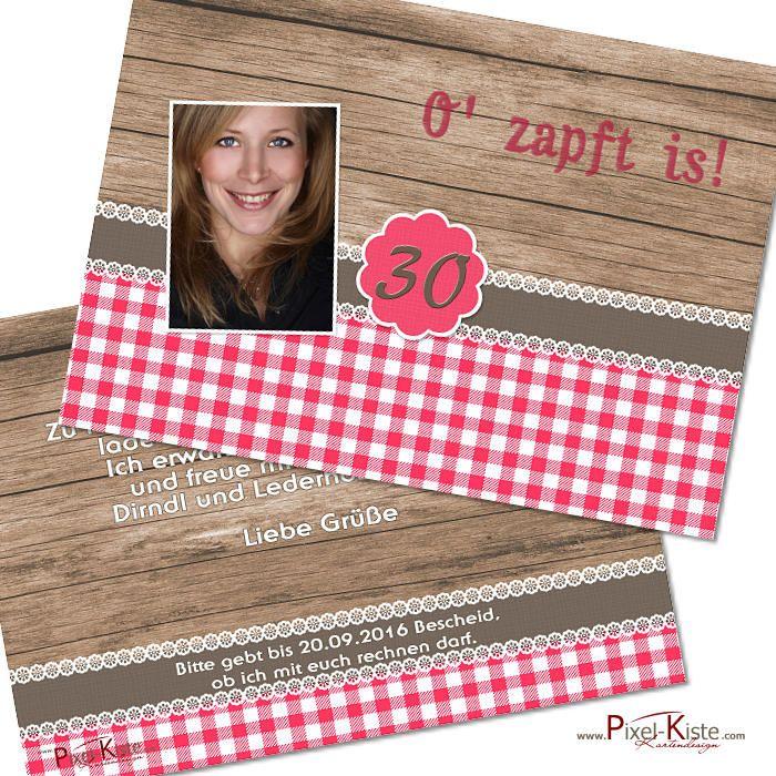 """Diese Einladung zum Oktoberfest mit rustikalem Holzhintergrund und Karos in Pink/Rosa kann mit oder ohne Foto auf der Vorderseite gestaltet werden. Zur Gestaltung der Einladungen """"O' zapft ist"""" benötigen wir von Ihnen:..."""