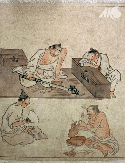 (Korea) Painting of tobacco-cutting, by Danwon Kim Hong-do (1745-1806). ca 18th century CE. Joseon Kingdom, Korea.