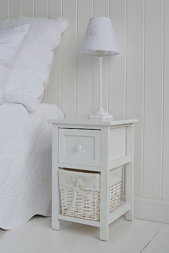 Bar harbor small white childrens bedside table. Ideas and designs in furniture and accessories for decorating your white home from The White Lighthouse www.thewhitelighthousefurniture.co.uk