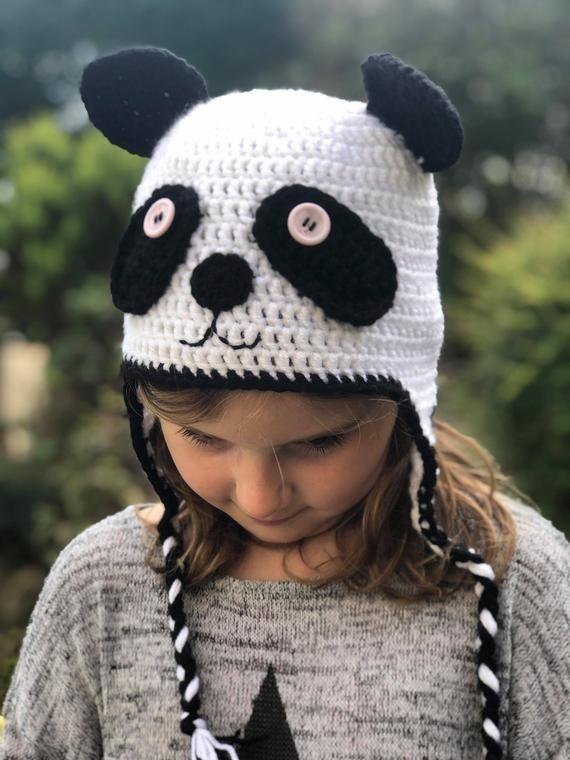 Handmade Crocheted Panda Hat
