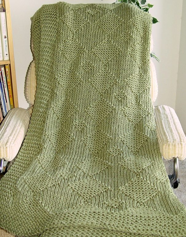 Free Until Jan 25 2018 Knitting Pattern for Charming Diamond Afghan - Easy afghan in just knit and purl stitches worked holding two strands of worsted yarn together. Designed by Linda Luder. Excerpted from Big Book of Quick Knit Afghans. Pictured project by twirlygirl