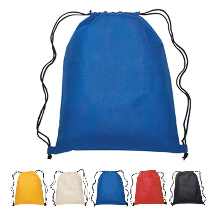 "Budget Drawstring Bag / Large size Wholesale Backpacks  $0.80 each for 100+. Non-woven, probably the blue Uline bag material. 16""x19.5"""
