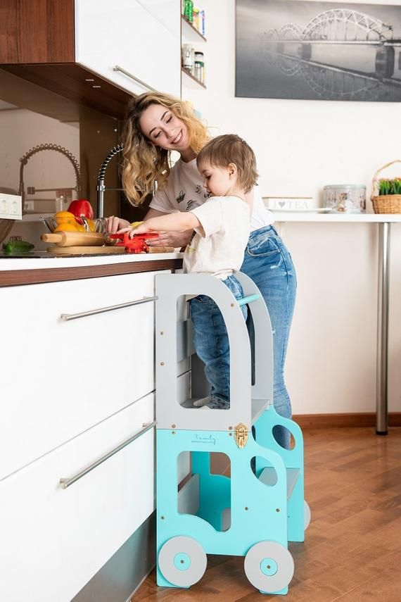 Montessori Kitchen Step Stool Which Can Be Easily Transformed To Table And Chair Is Designed And Created Kinder Tisch Und Stuhle Kuche Tritthocker Kindertisch
