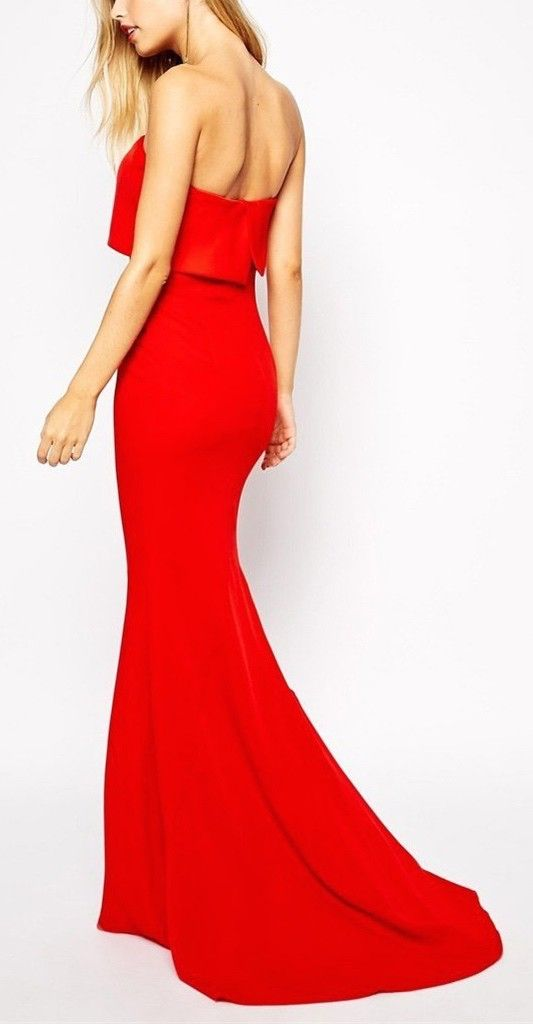 Loving this red strapless maxi dress