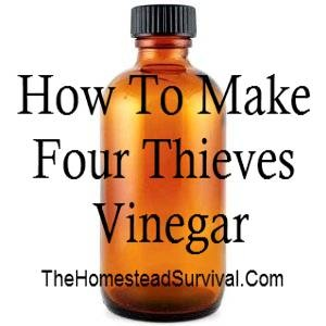 Four Thieves Vinegar:  2 quarts of apple cider vinegar  2 tablespoons each, dried rosemary, sage, lavender, wormwood, peppermint, and 2 tablespoons of fresh, minced garlic.  You will need 2- glass quart mason jars with lids. Divide the herbs and garlic evenly into the jars, and slowly pour the vinegar over the herbs.  Cap the jars and steep in a cool, dark area for 30 days.  Strain out the used herbs. Return the strained liquid to the jars an...