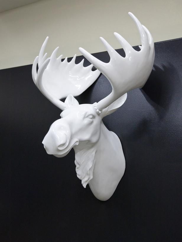Faux (Or Real) Taxidermy: Yes or No?: Google Image, Ceramic Animal Head, Faux Taxidermy, Animal Heads, Deer Head, Living Room, Moose Head, White Moose