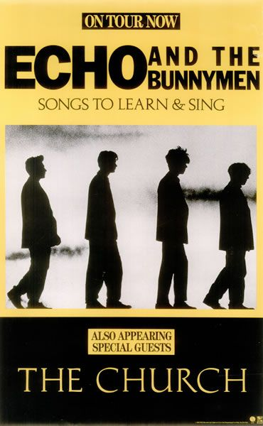 lostboypocalypse:  Echo and the Bunnymen Poster that hangs in Michaels room on his closet door. A rare 1985 US WEA label promotional only concert poster featuring the artwork for the 'Songs To Learn & Sing' album. // They also perform the cover of People Are Strange that is played in the movie.