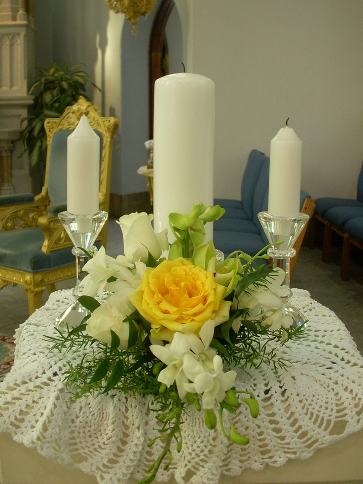 church wedding decorations candles%0A Unity candle arrangement  Church Flower ArrangementsCandle Arrangements Wedding ArrangementsChurch FlowersFlower CenterpiecesFloral