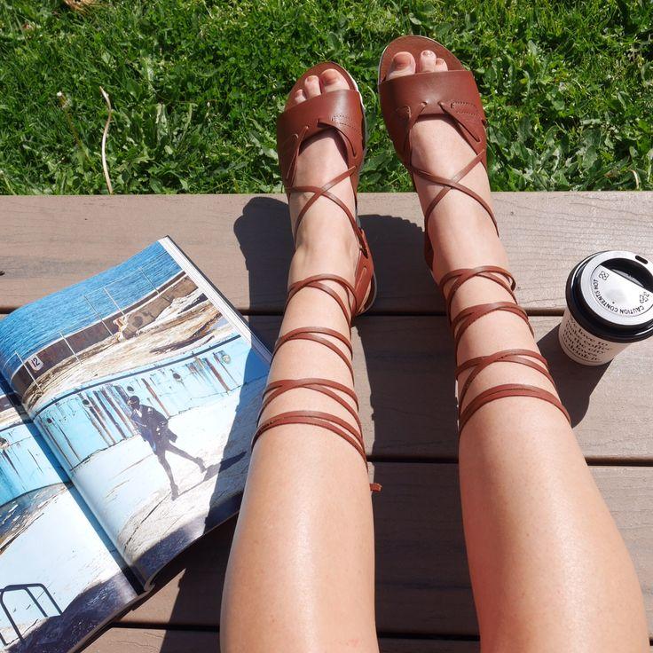 ALEXIS // tan wrap around sandals
