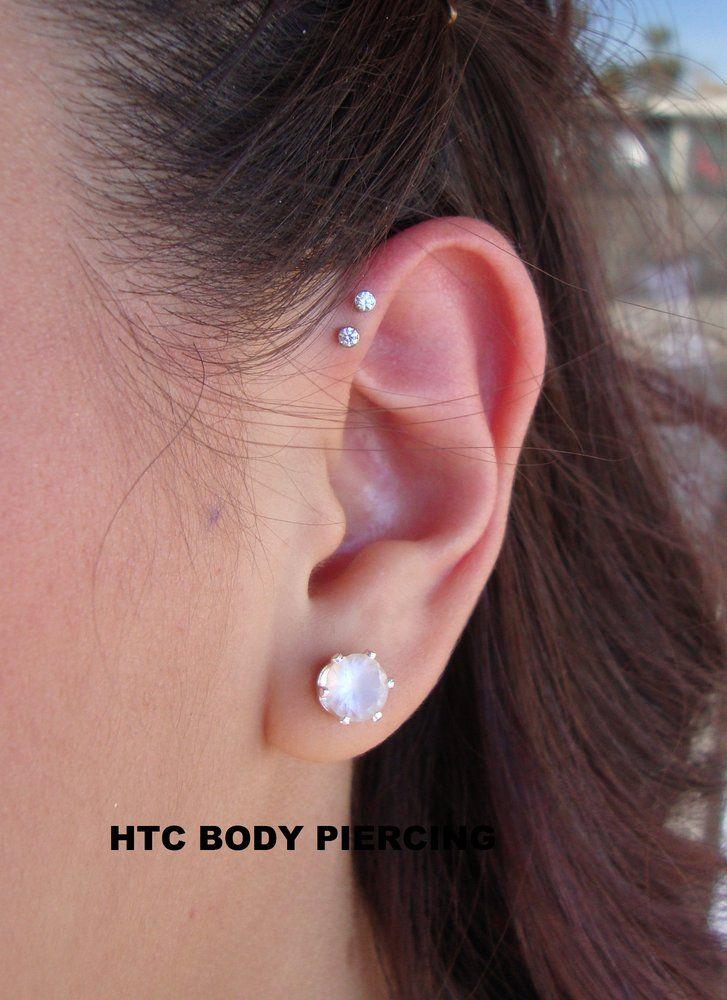 double forward helix piercing - Google Search